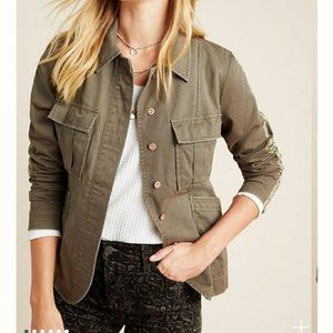 Anthropologie Stitch Military Shirt Jacket - XL